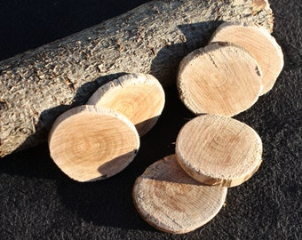 Wooden Button Bases or Craft Discs, Hand Made from Locally Grown Cherry Plum Tree - 25mm Lightly Sanded (pack of 6)