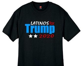41acf75f37ba1 Mens Latinos For Trump 2020 T Shirt Black Sizes Small Thru 2XL