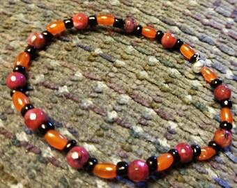 6 inch Red Agate Stretch Bracelet