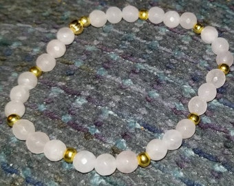 Rose Quartz and Yellow Gold Plated Beated Bracelet