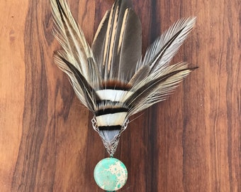 PARTRIDGE Unisex Brown feather Wedding Boutonniere, Scarf pin, Fall Wedding Lapel Pin, Hat pin, Groom Boutonniere, Brooch pin,