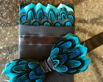 TURQUOISE Blue Feather Bow tie and Feather Pocket Square, Wedding bow tie, Groom Pocket Square, Groom Handkerchief, Groom Gift, Groomsman,