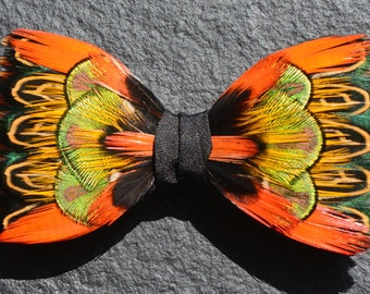 NEW 2018 - DANCING FLAME Orange Green Gold Feather Bow tie, Wedding Bow Tie, Grooms Bow Tie, Groom gift Groomsmen,  Best Man, Silk, Peacock,