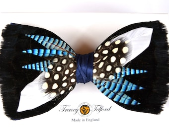 BLUE JAY, Spiked Feather Bow tie Wedding Bow Tie, Groom Bow Tie, Groomsmen Gift, Groomsman Gift, Best Man Gift, Groom Gift, Hunting,