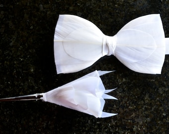 SNOWFLAKE White Feather Wedding Bow Tie and 3D Lapel Pin, Boutonniere, Button Hole, Grooms Bow Tie, Groom Gift, Rustic Wedding Bowtie