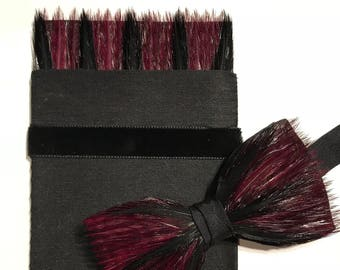 BERRY Delight Feather Bow Tie & Feather Pocket square set, Wedding Bow tie, Groom Gift, Groomsman Gift, Claret and black,