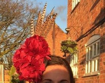 Peony Red feather flower Hat with Pheasant tail Feathers, Wedding Hat, Races hat, 3 large handmade peonies, Peony Feather Fascinator