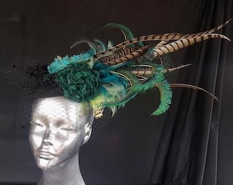 Feather Fascinator, Pheasant Feather Fascinator, Peacock feather fascinator, Wedding Hat, Pheasant Feathers, Races Fascinator, Feather Hat,