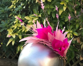 Pink Feather Flower Fascinator, Wedding Hat, Races Fascinator, Royal Enclosure Ascot Fascinator, Hatinator, Hot Pink, Pale pink,
