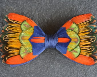 NEW 2018 - DANCING FLAME Orange Green Gold blue Feather Bow tie, Wedding Bow Tie, Grooms Bow Tie, Groom gift, Groomsmen, Silk, Peacock,