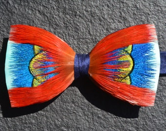 FESTIVAL Blue Red and Green Feather Bow tie set on Navy Blue Silk, Wedding Bow Tie, Grooms Bow Tie, Groomsmen Silk Bow Tie, Peacock,