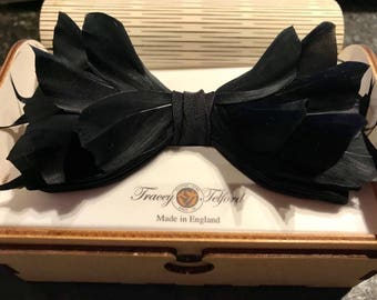 RAVEN Black 3D, Feather Bow Tie, Wedding Bow Tie, Groom Bow Tie, Groom Gift from bride, Red carpet event, Formal Attire, Gothic Wedding,