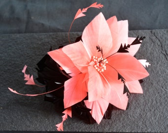 Coral and Black Feather Fascinator, Wedding fascinator, Races Fascinator, hair clip fastener, handmade to order, unique design,