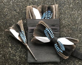 JAY Feather Wedding Bow tie, Pocket Square and lapel pin set, Groom or Brides, Handkerchief, Groom Gift, Groomsman Gift, Bride bow tie,