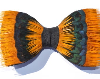 JASMINE, Feather Bow Tie, Wedding bow tie, Groom Bow Tie, Groomsman Bow Tie, Pre-tied, Adjustable, Shooting Gift, Hunting Gift, Husband Gift