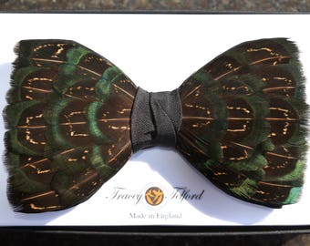 WESTMINSTER, Wedding Bow Tie, Groom Bow Tie, Feather Bow Tie, Groomsman Gift, Groom Gift, Shooting gift, Hunting Gift, Husband Gift, Bowtie