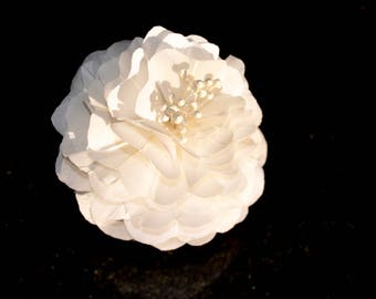Grooms or brides wedding lapel pin flower - handmade hand cut petals feather flower in white or colour of your choice