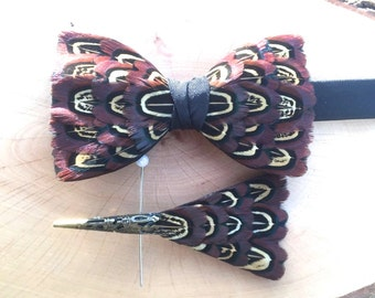 Feather Bow Tie and Pin