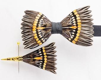 STARBURST Wedding Bow Tie, Wedding Boutonniere, Wedding Lapel Pin, Groomsman Gift, Groom Bow Tie, Groom Gift, Feather Bow tie, Groom Lapel,