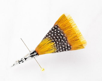 SUNRISE Wedding Boutonniere, Wedding Lapel pin, Feather Lapel Pin, Groom Gift, Groom Lapel Pin, Yellow, Groomsman Gift, Guinea Fowl,