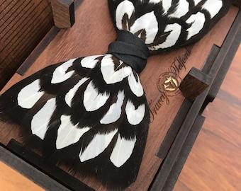 TUDOR Black and White Wedding Bow Tie, Pheasant Feather Bow Tie, Unique Groomsman Gift, Groom Bow Tie, Groom Gift, White and Black Wedding,