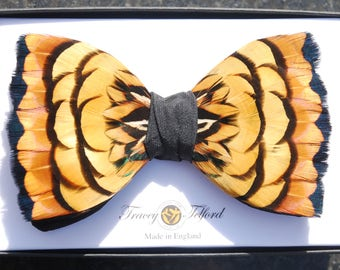 TIGER, Wedding Bow Tie, Feather Bow Tie, Feather Bowties, Groom Gift, Groomsmen Gift, Rustic, Best Man Gift, Black Tie, Yellow Bowtie, Bold