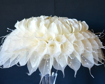 PEONY Feather Flower Wedding Bouquet with delicate Calla Lilly skeleton leaves, Ivory, Brides Bouquet, Pearls, Wedding Keepsake,