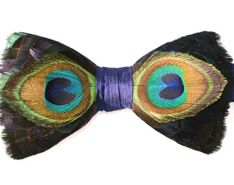 PEACOCK, Feather Bow tie, Wedding Bow Tie, Groom Bow Tie, Groomsman Gift, Best Man Gift, Groom Gift, Hunting Gift, Shooting gift, Husband,