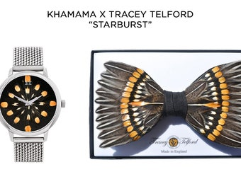 STARBURST Dress Watch and feather bow tie, feather jewellery watch, Khamama by Tracey Telford, minimalist unique timepiece