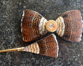 Woodcock Grouse Feather Bow Tie with shotgun shell cartridge, Wedding Bow Tie, Groomsmen Gift, Groom Bow Tie, Groom Gift, Feather, Bowtie