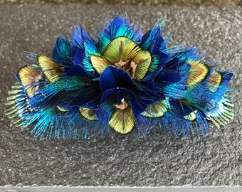 PEACOCK large feather 3D hair slide, statement piece, Wedding Flower, Bridal hair flower, Alternative Wedding, Rustic, Beach, Festival,