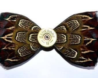 CHAPEL, 12 gauge bore cartridge, Wedding Bow Tie, Groom Bow Tie, Feather Bow Tie, Grooms Gift, Shooting Gift, Hunting Gift, Pheasant Feather
