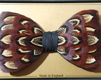 CHELSEA, Wedding Bow Tie, Feather Bow Tie, Pheasant Feathers, Groom Bow Tie, Groomsman Bow tie, Groomsman Gift, Groomsmen Bow Tie, Bowtie,