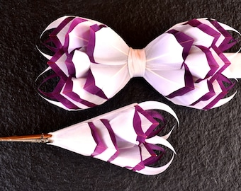 PLUM PICASSO 3D Feather Wedding Bow Tie and 3D Lapel Pin, Boutonniere, Button Hole, Grooms Bow Tie, Groom Gift, Rustic Wedding Bowtie,