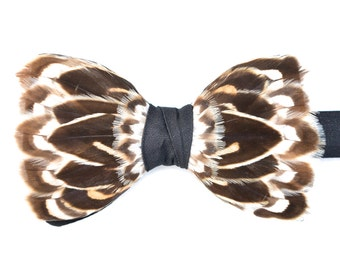 PINTAIL, Feather Bow Tie, Duck Feather, Wedding Bow Tie, Groom Bow tie, Groom Gift, Groomsman Gift, Brown, White, Hunting Gift, Shooting,