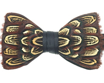 CLASSIC PHEASANT, Wedding Bow Tie, Groom Bow Tie, Pheasant, Feather Bow Tie, Brown, Grooms Gift, Best Man Gift, Pheasant, Pre-tied, Unique,