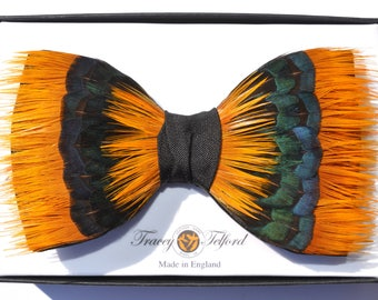 SUNBURST, Orange Yellow Blue Green Feather Bow tie, Wedding Bow Tie, Groom bow tie, Groomsmen Gift, Groom Bow Tie, Wedding boutonniere,