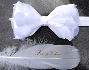 WHITE 3D Wedding Bow Tie, White Feather Bow Tie, Grooms Bow Tie, Groom Gift, Groomsman Gift, Beach Wedding, White Wedding, Boho Wedding,