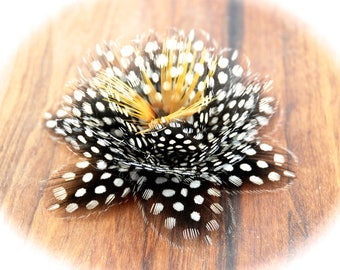 LOTUS, Guinea fowl Feather flower groom lapel pin, Black and White Guinea Groom Boutonniere, Groom Button hole, Monochrome Wedding,