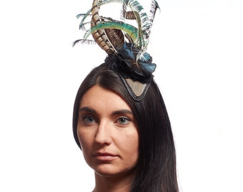NAVY Blue pheasant feather flower fascinator,  Pheasant tail Feathers, Wedding Hat, Races hat, peacock sword feathers
