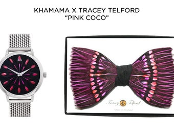 COCO Dress Watch and feather bow tie, feather jewellery watch, Khamama by Tracey Telford, minimalist unique timepiece Magenta