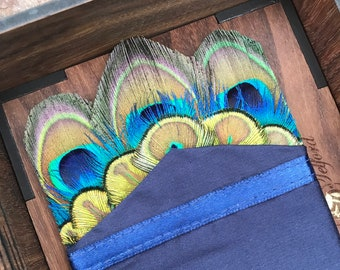 Blue Silk & Peacock Pocket, Wedding Pocket Square, Groom Pocket Square, Feather Pocket Square, Groom Gift, Groomsmen Gift, Red, Bowtie,