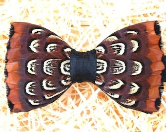 WINDSOR Feather Bow tie, Wedding Bow Tie,  Groom Bow Tie, Groom Gift, Purple, brown, Shooting,