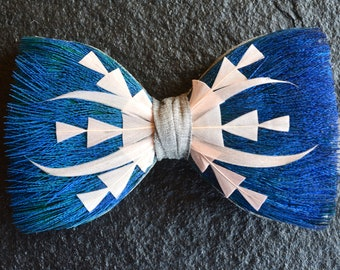 SCORPION Peacock Wedding Bow Tie, Blue and Pink Feather Bow Tie, Grooms Bow Tie, Grooms Gift from bride, Groomsmen Gift,