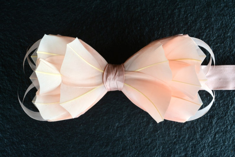 Flamingo 3d Blush Wedding Bow Tie Pale Pink Wedding Feather Etsy