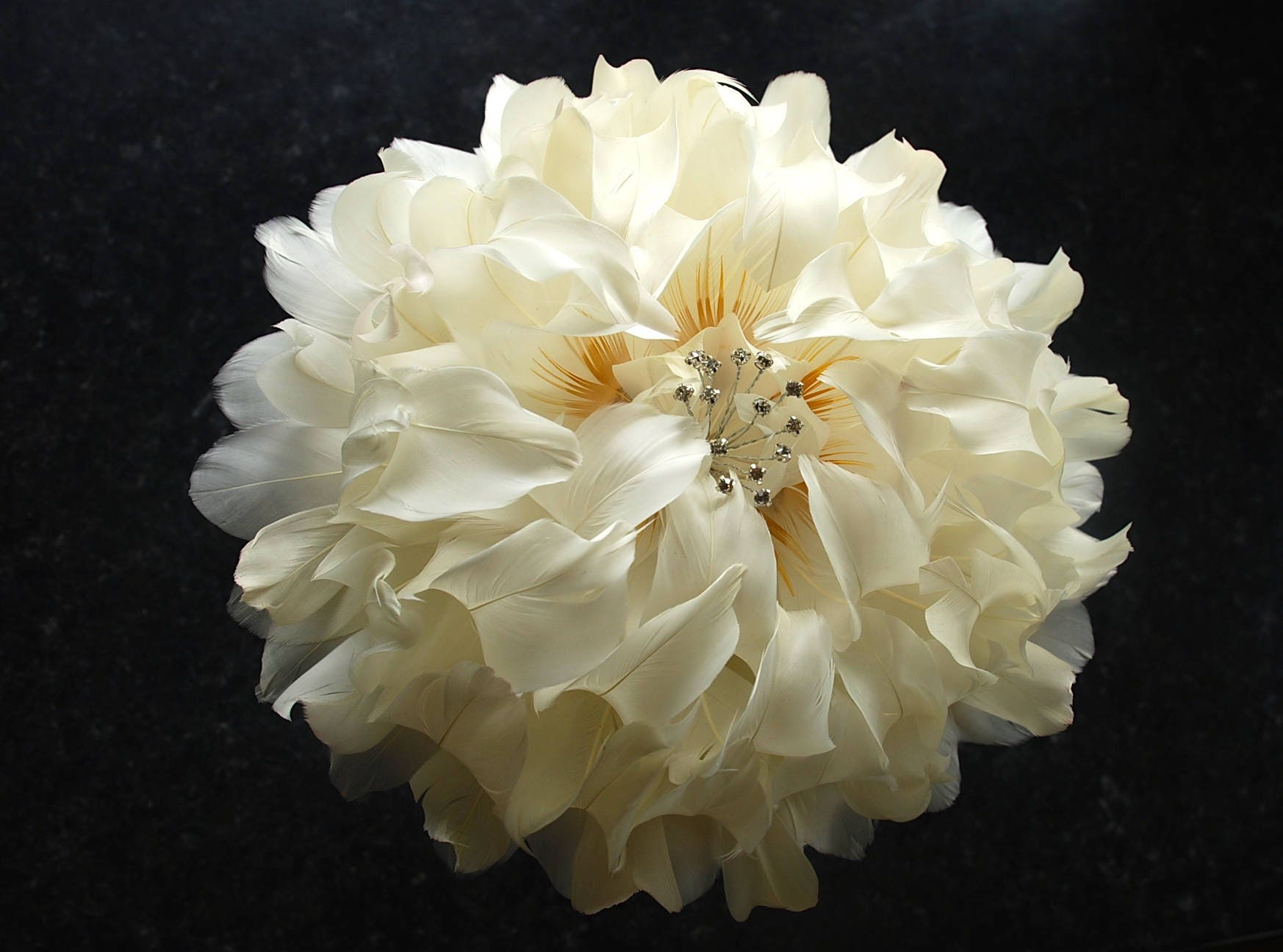 Giant Peony Wedding Bouquet Ivory Feather Flower Bridal Bouquet