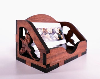 Flushing Pheasants Walnut Wood Country Business Card Holder, Folder organiser, Writers, College, Country, Shooting Gift, Hunting Gift,