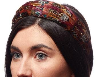 PHEASANT feather headband, Woodland hair accessory, festivals headwear, feather fascinator, padded feather headband, burgundy