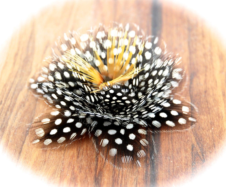Lotus Flower Wedding Bridal Flower Black And White Feather Flower