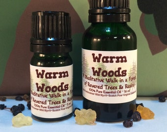Warm Woods Essential Oil, Diffuser, Meditative, Deep Spiritual Aroma, Forest, Trees, Resins, Frankincense, Holiday, Base Notes